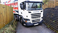2018 01 22 Aldi lorry stuck in Clydach, Wales, UK