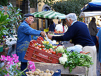 Early morning at market in Piazza del Popolo, Orvieto, Ital