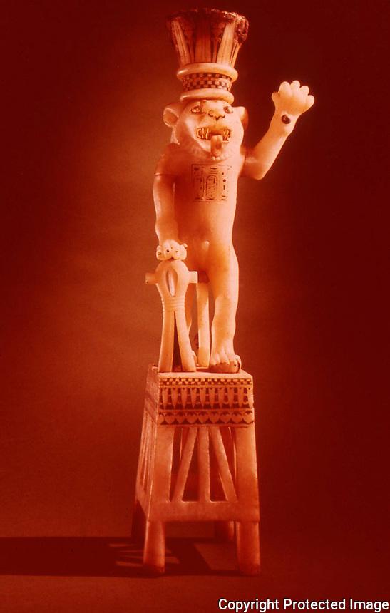 Egypt:  Standing Lion Jar--alabaster.  Treasures of Tutankhamun, Cairo Museum.  MMA 1976.
