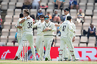 Tim Southee, New Zealand and team mates celebrate the wicket of Shami during India vs New Zealand, ICC World Test Championship Final Cricket at The Hampshire Bowl on 23rd June 2021