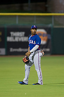AZL Rangers left fielder Darius Day (24) on defense against the AZL Giants on September 4, 2017 at Scottsdale Stadium in Scottsdale, Arizona. AZL Giants defeated the AZL Rangers 6-5 to advance to the Arizona League Championship Series. (Zachary Lucy/Four Seam Images)