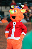 Mascot Gizmo of the Greeneville Astros in a game against the Bristol Pirates on Friday, July 25, 2014, at Pioneer Park in Greeneville, Tennessee. Greeneville won, 9-4. (Tom Priddy/Four Seam Images)