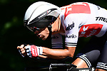 Trek-Segafredo in action during Stage 13 of the 2019 Tour de France an individual time trial running 27.2km from Pau to Pau, France. 19th July 2019.<br /> Picture: ASO/Alex Broadway | Cyclefile<br /> All photos usage must carry mandatory copyright credit (© Cyclefile | ASO/Alex Broadway)