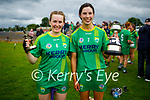 Kerry captain Aine O'Connor with Sara Murphy who received player of the match award after their winning the Munster Junior Camogie final