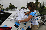 AG2R La Mondiale team helper at the feed zone in Pozzo Sant'Evasio during the 2015 96th Milan-Turin 186km race starting at San Giuliano Milanese, Italy. 1st October 2015.<br /> Picture: Eoin Clarke | Newsfile