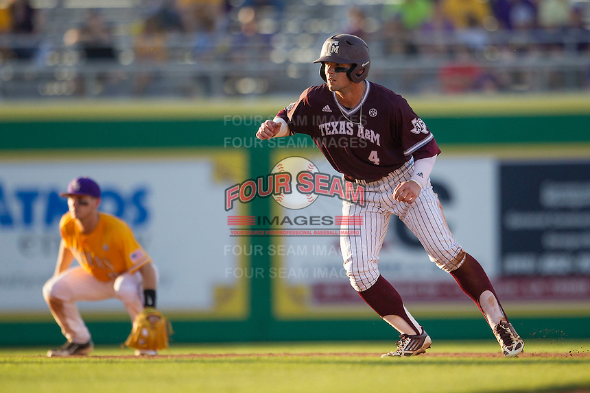 Texas A&M Aggies outfielder Nick Banks (4) takes his lead off of second base during the Southeastern Conference baseball game against the LSU Tigers on April 25, 2015 at Alex Box Stadium in Baton Rouge, Louisiana. Texas A&M defeated LSU 6-2. (Andrew Woolley/Four Seam Images)