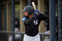 New York Yankees Stanley Rosario (24) on deck during a Florida Instructional League game against the Pittsburgh Pirates on September 25, 2018 at Yankee Complex in Tampa, Florida.  (Mike Janes/Four Seam Images)