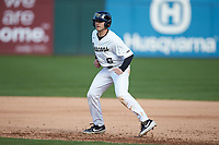Michael Turconi (6) of the Wake Forest Demon Deacons takes his lead off of first base against the Furman Paladins at BB&T BallPark on March 2, 2019 in Charlotte, North Carolina. The Demon Deacons defeated the Paladins 13-7. (Brian Westerholt/Four Seam Images)