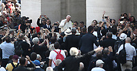 Pope Francis greets faithful after celebrating a canonization mass  in St. Peter's Square at the Vatican, on October 14, 2018.<br /> UPDATE IMAGES PRESS/Isabella Bonotto<br /> <br /> STRICTLY ONLY FOR EDITORIAL USE
