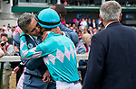 LOUISVILLE, KY - MAY 04: Michael Dubb kisses Florent Geroux after he wins the Longines Kentucky Oaks aboard Monomoy Girl during the Kentucky Oaks at Churchill Downs on May 4, 2018 in Louisville, Kentucky. (Photo by Eric Patterson/Eclipse Sportswire/Getty Images)