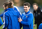 St Johnstone Training….21.10.20     <br />Stevie May pictured with Craig Bryson during training at McDiarmid Park ahead of Saturday's game against Dundee United.<br />Picture by Graeme Hart.<br />Copyright Perthshire Picture Agency<br />Tel: 01738 623350  Mobile: 07990 594431