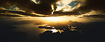 Port Pegasus and Fraser Peaks Range at sunset. Rakiura National Park. Stewart Island New Zealand.