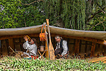 French Voyageurs canoe camp in the woods reenactment