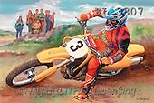 Interlitho, Luis, MASCULIN, paintings, motocross, yellow bike(KL3807,#M#) Männer, masculino, illustrations, pinturas , hombres ,everyday