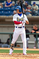 Rancho Cucamonga Quakes Jeren Kendall (3) at bat against the Visalia Rawhide at LoanMart Field on May 13, 2018 in Rancho Cucamonga, California. The Quakes defeated the Rawhide 3-2.  (Donn Parris/Four Seam Images)