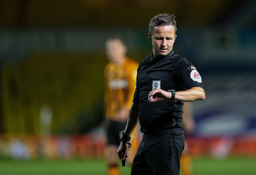 Referee David Webb checks his watch<br /> <br /> Photographer Alex Dodd/CameraSport<br /> <br /> Carabao Cup Second Round Northern Section - Leeds United v Hull City -  Wednesday 16th September 2020 - Elland Road - Leeds<br />  <br /> World Copyright © 2020 CameraSport. All rights reserved. 43 Linden Ave. Countesthorpe. Leicester. England. LE8 5PG - Tel: +44 (0) 116 277 4147 - admin@camerasport.com - www.camerasport.com