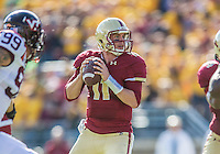 2 November 2013: Boston College Eagles quarterback Chase Rettig (11) serfs to pass in the third quarter against the Virginia Tech Hokies at Alumni Stadium in Chestnut Hill, MA. The Eagles defeated the Hokies 34-27. Mandatory Credit: Ed Wolfstein-USA TODAY Sports *** RAW (NEF) Image File Available ***