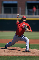Los Angeles Angels pitcher Garrett Nuss (44) during an instructional league game against the Arizona Diamondbacks on October 9, 2015 at the Tempe Diablo Stadium Complex in Tempe, Arizona.  (Mike Janes/Four Seam Images)