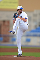 Dunedin Blue Jays pitcher Drew Hutchison (21), on a rehab assignment,  during a game against the Fort Myers Miracle on July 20, 2013 at Florida Auto Exchange Stadium in Dunedin, Florida.  Fort Myers defeated Dunedin 3-1.  (Mike Janes/Four Seam Images)