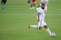 WASHINGTON, DC - AUGUST 25: Andrew Farrell #2 of New England Revolution moves the ball during a game between New England Revolution and D.C. United at Audi Field on August 25, 2020 in Washington, DC.