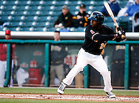 Salt Lake Bees left fielder Jeremy Moore #24 during a game vs. Tacoma Rainiers on April 26, 2011 at Spring Mobile Ballpark in Salt Lake City, Utah. Salt Lake Bees were defeated by Tacoma 8-4.  Photo By Matthew Sauk/Four Seam Images