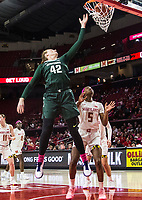 COLLEGE PARK, MD - FEBRUARY 03: Kayla Belles #42 of Michigan State lobs in a shot over Kaila Charles #5 of Maryland during a game between Michigan State and Maryland at Xfinity Center on February 03, 2020 in College Park, Maryland.