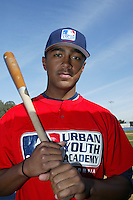 February 10 2008: Isaac Galloway participates in a MLB pre draft workout for high school players at the Urban Youth Academy in Compton,CA.  Photo by Larry Goren/Four Seam Images