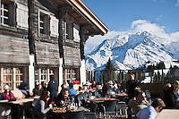 Europe/France/Rhône-Alpes/74/Haute-Savoie/Megève: Terrasse du Chalet d'altitude, restaurant: L'Idéal  1850 au sommet du Mont d'Arbois,  face au Mont-Blanc