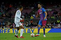 20th September 2021; Nou Camp, Barcelona, Spain; La Liga football league;  FC Barcelona versus Granada;   Sergio Busquets looks up to find a way past Suarez