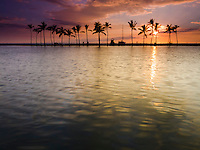 Sunset at 'Anaeho'omalu Bay, as seen from the Ku'uali'i fishpond, Waikoloa, Big Island.