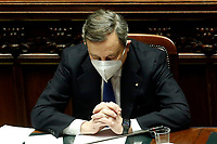 The Italian Prime Minister Mario Draghi seems to pray at the Chamber of Deputies during the discussion and vote of confidence in the new Government. Rome (Italy), February 18th 2021<br /> Photo Samantha Zucchi Insidefoto