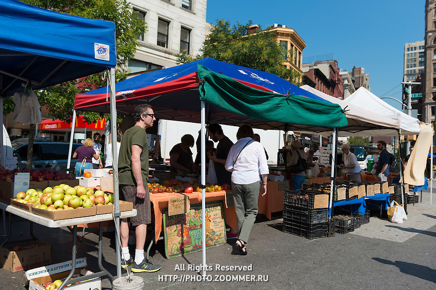 New York City greenmarket on Union Square, Manhattan, New York, USA