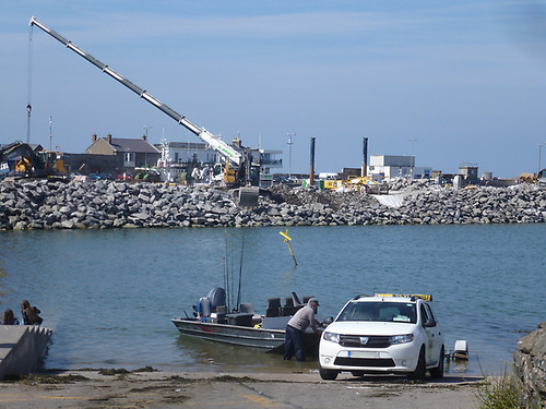 Work on Howth's Middle Pier is already well underway to expand trawler berthing. Photo: W M Nixon