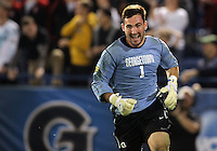 HOOVER, AL - DECEMBER 07, 2012:  Tomas Gomez (1) of Georgetown University after making the penalty shot save to win the game during an NCAA 2012 Men's College Cup semi-final match, at Regions Park, in Hoover , AL, on Friday, December 07, 2012. The game ended in a 4-4 tie, Georgetown won on penalty kicks after overtime.
