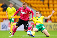3rd October 2020; Carrow Road, Norwich, Norfolk, England, English Football League Championship Football, Norwich versus Derby; Oliver Skipp of Norwich City slide tackles Kamil Jozwiak of Derby County