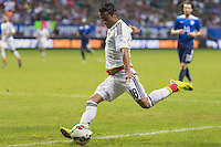 Mexico's  midfielder Carlos Esquivel (18) during an international friendly at the Alamodome, Wednesday, April 15, 2015 in San Antonio, Tex. USA defeated Mexico 2-0. (Mo Khursheed/TFV Media via AP Images)