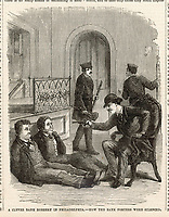 Robbers hold up the Kensington National Bank Philadelphia     Date: 1871     Source: Illustration in 'The Day's Doings' Vol II 18th March 1871 page 125