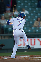 Round Rock Express outfielder Engel Beltre #7 at bat against the Omaha Storm Chasers in the Pacific Coast League baseball game on April 4, 2013 at the Dell Diamond in Round Rock, Texas. Round Rock defeated Omaha in their season opener 3-1. (Andrew Woolley/Four Seam Images).