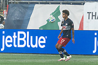FOXBOROUGH, MA - SEPTEMBER 02: Tajon Buchanan #17 of New England Revolution controls the ball during a game between New York City FC and New England Revolution at Gillette Stadium on September 02, 2020 in Foxborough, Massachusetts.