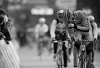 Rob Peeters (BEL) freeing his nose of obstructions<br /> <br /> 2014 UCI cyclo-cross World Championships, EliteMen