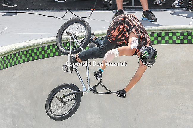 BMX Park Final event athletes compete for the top medals during the summer X-Games at the Circuit of the Americas race track in Austin, Texas.