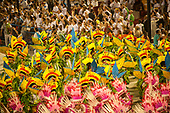 Imperatriz Leopolinense Samba School, Carnival, Rio de Janeiro, Brazil, 26th February 2017. Samba dancers wearing costumes to represent the colourful parrots and the green plants of the forest.