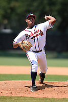 GCL Braves pitcher Jhon Martinez (60) delivers a pitch during a game against the GCL Blue Jays on June 27, 2014 at the ESPN Wide World of Sports in Orlando, Florida.  GCL Braves defeated GCL Blue Jays 10-9.  (Mike Janes/Four Seam Images)