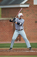 Zach Michalski (29) of the North Carolina Central Eagles at bat against the High Point Panthers at Williard Stadium on February 28, 2017 in High Point, North Carolina. The Eagles defeated the Panthers 11-5. (Brian Westerholt/Four Seam Images)