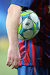 A detailed view of the Adidas football awarded to Lionel Messi of FC Barcelona after the UEFA Champions League round of 16 second leg match between FC Barcelona and Bayern 04 Leverkusen at Camp Nou on March 7, 2012 in Barcelona, Spain. FC Barcelona won 7-1 and Lionel Messi scored 5 goals.