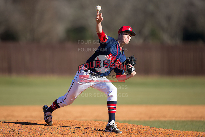 Shippensburg Raiders relief pitcher Gabe Mosser (8) in action against the Belmont Abbey Crusaders at Abbey Yard on February 8, 2015 in Belmont, North Carolina.  The Raiders defeated the Crusaders 14-0.  (Brian Westerholt/Four Seam Images)