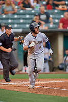 Austin Dean (9) of the New Orleans Baby Cakes runs to first base against the Salt Lake Bees at Smith's Ballpark on August 4, 2019 in Salt Lake City, Utah. The Baby Cakes defeated the Bees 8-2. (Stephen Smith/Four Seam Images)