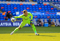12th September 2020; Cardiff City Stadium, Cardiff, Glamorgan, Wales; English Championship Football, Cardiff City versus Sheffield Wednesday; Alex Smithies of Cardiff City rolls the ball out