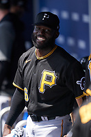 Pittsburgh Pirates Anthony Alford (6) before a Major League Spring Training game against the Toronto Blue Jays on March 1, 2021 at TD Ballpark in Dunedin, Florida.  (Mike Janes/Four Seam Images)
