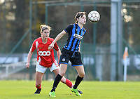 Debbie Decoene (21 Brugge) pictured with watching Ellen Charlier of Standard (13) during a female soccer game between Standard Femina de Liege and Club Brugge YLA on the seventh matchday of the 2020 - 2021 season of Belgian Scooore Womens Super League , saturday 14 th of November 2020  in Angleur , Belgium . PHOTO SPORTPIX.BE | SPP | DAVID CATRY